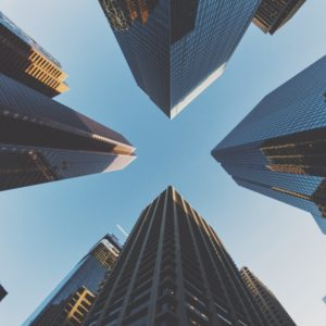 Image of looking up at skyscrapers